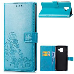 Embossing Imprint Four-Leaf Clover Leather Wallet Case for Samsung Galaxy A6 (2018) - Blue