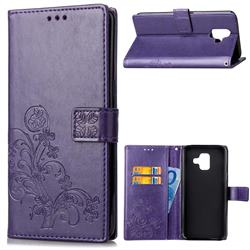 Embossing Imprint Four-Leaf Clover Leather Wallet Case for Samsung Galaxy A6 (2018) - Purple