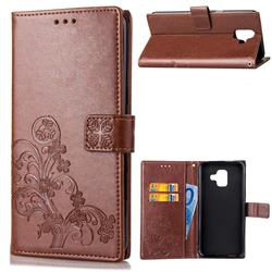 Embossing Imprint Four-Leaf Clover Leather Wallet Case for Samsung Galaxy A6 (2018) - Brown