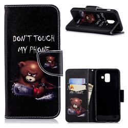 Chainsaw Bear Leather Wallet Case for Samsung Galaxy A6 (2018)