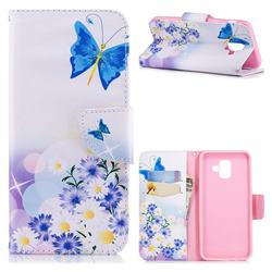 Butterflies Flowers Leather Wallet Case for Samsung Galaxy A6 (2018)