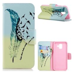 Feather Bird Leather Wallet Case for Samsung Galaxy A6 (2018)