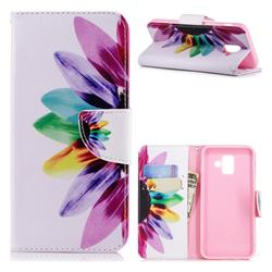 Seven-color Flowers Leather Wallet Case for Samsung Galaxy A6 (2018)