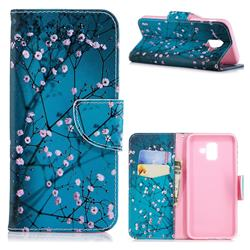 Blue Plum Leather Wallet Case for Samsung Galaxy A6 (2018)
