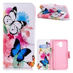 Vivid Flying Butterflies Leather Wallet Case for Samsung Galaxy A6 (2018)