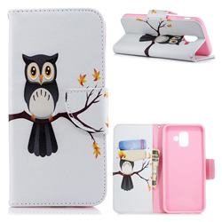 Owl on Tree Leather Wallet Case for Samsung Galaxy A6 (2018)
