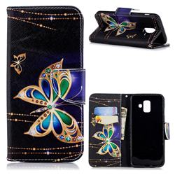 Golden Shining Butterfly Leather Wallet Case for Samsung Galaxy A6 (2018)