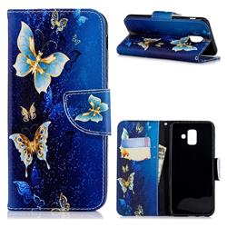 Golden Butterflies Leather Wallet Case for Samsung Galaxy A6 (2018)