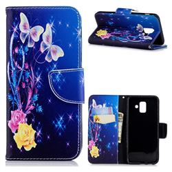 Yellow Flower Butterfly Leather Wallet Case for Samsung Galaxy A6 (2018)