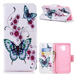Peach Butterflies Leather Wallet Case for Samsung Galaxy A6 (2018)