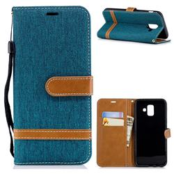 Jeans Cowboy Denim Leather Wallet Case for Samsung Galaxy A6 (2018) - Green