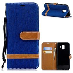 Jeans Cowboy Denim Leather Wallet Case for Samsung Galaxy A6 (2018) - Sapphire