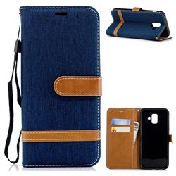 Jeans Cowboy Denim Leather Wallet Case for Samsung Galaxy A6 (2018) - Dark Blue