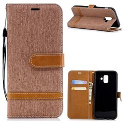 Jeans Cowboy Denim Leather Wallet Case for Samsung Galaxy A6 (2018) - Brown