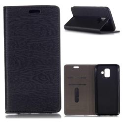 Tree Bark Pattern Automatic suction Leather Wallet Case for Samsung Galaxy A6 (2018) - Black