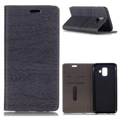 Tree Bark Pattern Automatic suction Leather Wallet Case for Samsung Galaxy A6 (2018) - Gray