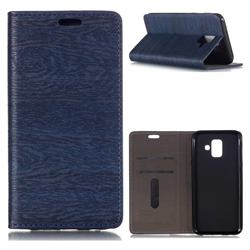 Tree Bark Pattern Automatic suction Leather Wallet Case for Samsung Galaxy A6 (2018) - Blue