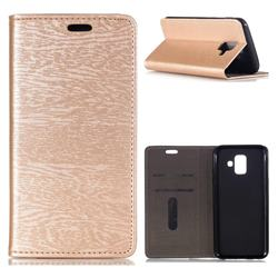 Tree Bark Pattern Automatic suction Leather Wallet Case for Samsung Galaxy A6 (2018) - Champagne Gold