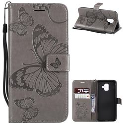 Embossing 3D Butterfly Leather Wallet Case for Samsung Galaxy A6 (2018) - Gray