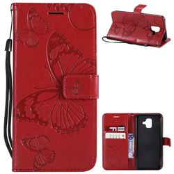 Embossing 3D Butterfly Leather Wallet Case for Samsung Galaxy A6 (2018) - Red
