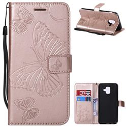 Embossing 3D Butterfly Leather Wallet Case for Samsung Galaxy A6 (2018) - Rose Gold