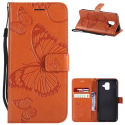 Embossing 3D Butterfly Leather Wallet Case for Samsung Galaxy A6 (2018) - Orange