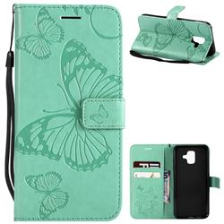 Embossing 3D Butterfly Leather Wallet Case for Samsung Galaxy A6 (2018) - Green
