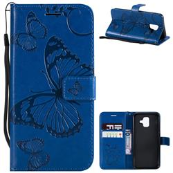 Embossing 3D Butterfly Leather Wallet Case for Samsung Galaxy A6 (2018) - Blue