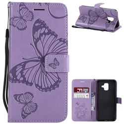 Embossing 3D Butterfly Leather Wallet Case for Samsung Galaxy A6 (2018) - Purple