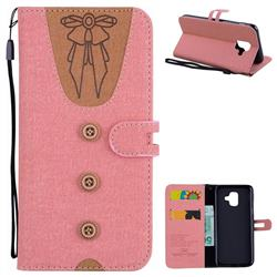 Ladies Bow Clothes Pattern Leather Wallet Phone Case for Samsung Galaxy A6 (2018) - Pink