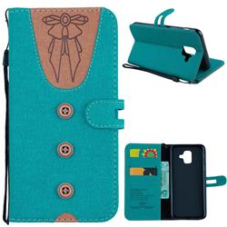 Ladies Bow Clothes Pattern Leather Wallet Phone Case for Samsung Galaxy A6 (2018) - Green