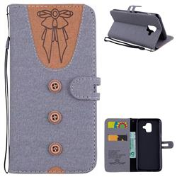 Ladies Bow Clothes Pattern Leather Wallet Phone Case for Samsung Galaxy A6 (2018) - Gray