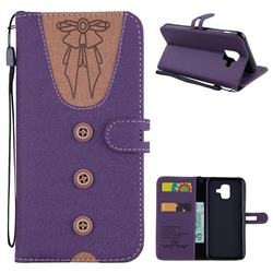 Ladies Bow Clothes Pattern Leather Wallet Phone Case for Samsung Galaxy A6 (2018) - Purple