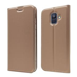 Ultra Slim Card Magnetic Automatic Suction Leather Wallet Case for Samsung Galaxy A6 (2018) - Rose Gold