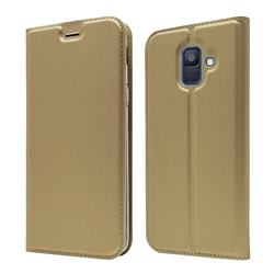 Ultra Slim Card Magnetic Automatic Suction Leather Wallet Case for Samsung Galaxy A6 (2018) - Champagne