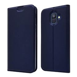 Ultra Slim Card Magnetic Automatic Suction Leather Wallet Case for Samsung Galaxy A6 (2018) - Royal Blue