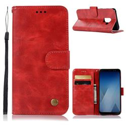 Luxury Retro Leather Wallet Case for Samsung Galaxy A6 (2018) - Red