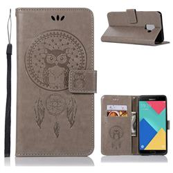 Intricate Embossing Owl Campanula Leather Wallet Case for Samsung Galaxy A6 (2018) - Grey