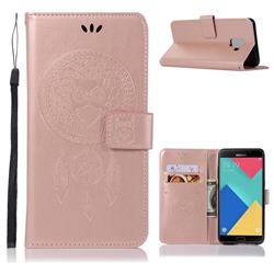 Intricate Embossing Owl Campanula Leather Wallet Case for Samsung Galaxy A6 (2018) - Rose Gold