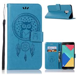 Intricate Embossing Owl Campanula Leather Wallet Case for Samsung Galaxy A6 (2018) - Blue
