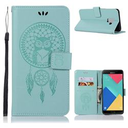 Intricate Embossing Owl Campanula Leather Wallet Case for Samsung Galaxy A6 (2018) - Green