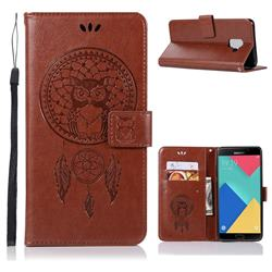 Intricate Embossing Owl Campanula Leather Wallet Case for Samsung Galaxy A6 (2018) - Brown