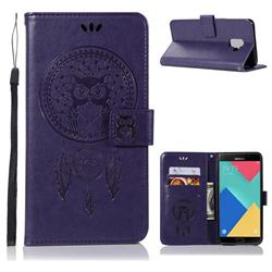 Intricate Embossing Owl Campanula Leather Wallet Case for Samsung Galaxy A6 (2018) - Purple
