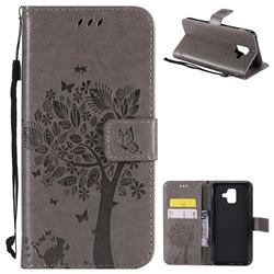 Embossing Butterfly Tree Leather Wallet Case for Samsung Galaxy A6 (2018) - Grey