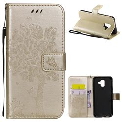 Embossing Butterfly Tree Leather Wallet Case for Samsung Galaxy A6 (2018) - Champagne