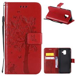 Embossing Butterfly Tree Leather Wallet Case for Samsung Galaxy A6 (2018) - Red