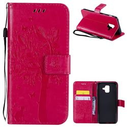 Embossing Butterfly Tree Leather Wallet Case for Samsung Galaxy A6 (2018) - Rose