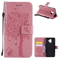Embossing Butterfly Tree Leather Wallet Case for Samsung Galaxy A6 (2018) - Pink