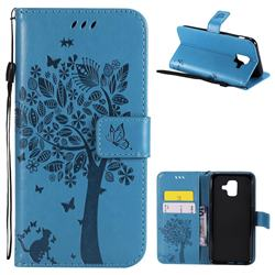 Embossing Butterfly Tree Leather Wallet Case for Samsung Galaxy A6 (2018) - Blue