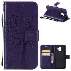 Embossing Butterfly Tree Leather Wallet Case for Samsung Galaxy A6 (2018) - Purple